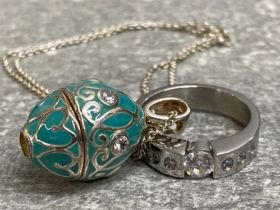 Faberge egg style pendant on silver chain plus CZ ring