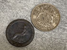 Britannia George III 1797 two penny coin together with George VI 1937 coronation silver crown