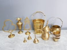 Brassware to include an ice bucket, bell, stands etc.
