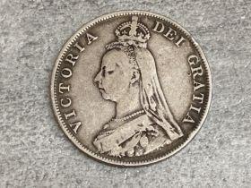 Silver 1890 Queen Victoria jubilee head double florin coin