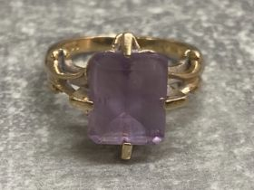 9ct gold amethyst ring, 4.33g gross, size L