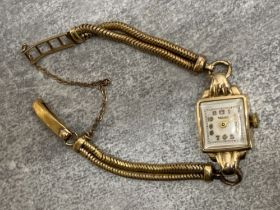Vintage Rotary ladies wristwatch with 9ct gold case and rolled gold straps, 15.4g gross weight