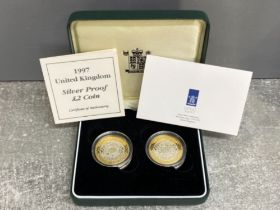 Royal Mint 1997 silver proof £2 coin set, both in mint condition still in capsules, housed in