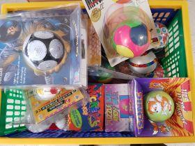 Box of miscellaneous puzzle balls including Orbix, Sonic the hedgehog etc