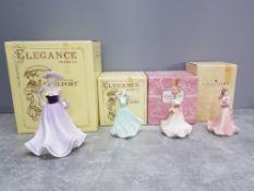 Four coalport lady figures: Demetria, Jo, Meryl and Summer Bouquet, all boxed.