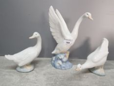 A Nao swan and two geese.