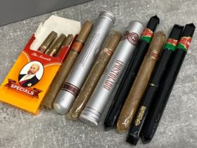 Selection of cigars includes King Edwards, Apostolado and Dannemann, all still sealed