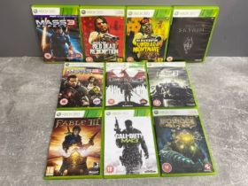 Selection of Xbox 360 games, 10 in total, including huge titles such as Call of Duty, Mass effect