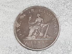 Silver Bank of Ireland token George III 1804 six shillings coin, very good condition