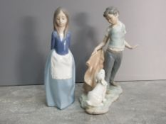 2 Nao by lladro figures, young maid and boy with dog