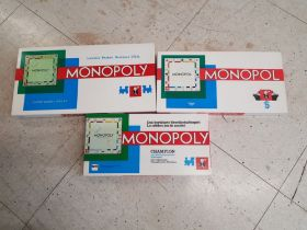 3 boxed vintage monopoly boardgames, Holland, Norway and Switzerland