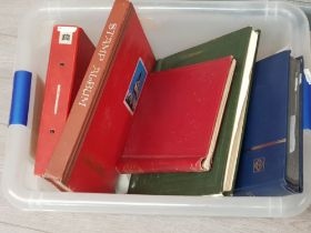 Box containing 5 stamp albums, commemorative and collectors postage stamps