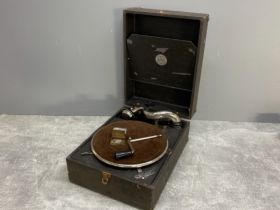 Vintage world famed Antoria turntable record player, complete with handle and spear needles, in good