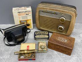 Box miscellaneous including costume jewellery, Radio and camera