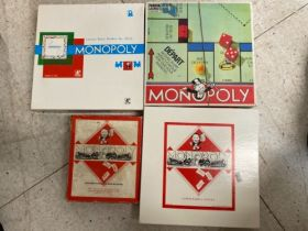 4 Vintage Monopoly Travel board games includes English, Spanish, Dutch
