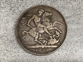 Great Britain 1890 Queen Victoria silver crown coin, good condition