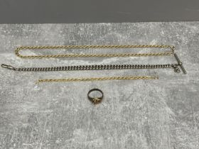 Gold and silver coloured bracelet, chain and ring