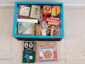 Box containing a large Quantity of vintage wooden puzzles