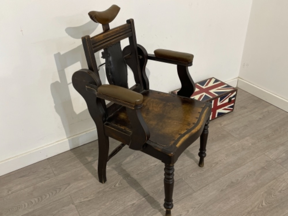 Early 20th century Barbers chair with adjustable back. - Image 2 of 3