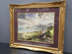 Gilt framed watercolour the shepherd and his dog, Bamburgh castle signed and dated bottom left by