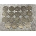 Coins UK 2012 Olympic 50p x 19 different coins