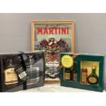 Martini framed mirror and Bells scotch whisky and hip flask