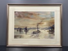 Ronald Moore B.W.S 1927-1992 watercolour titled Tyne Ferry - The Collingwood