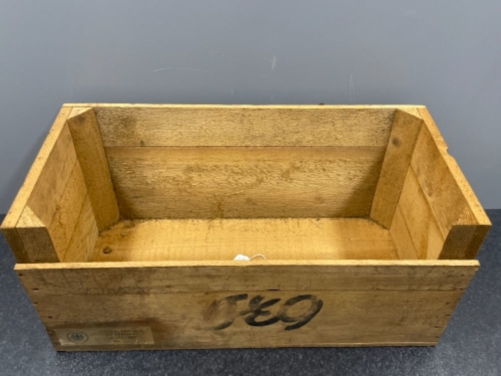 German wooden crate 63cm x 30cm x 30cms - Image 2 of 3