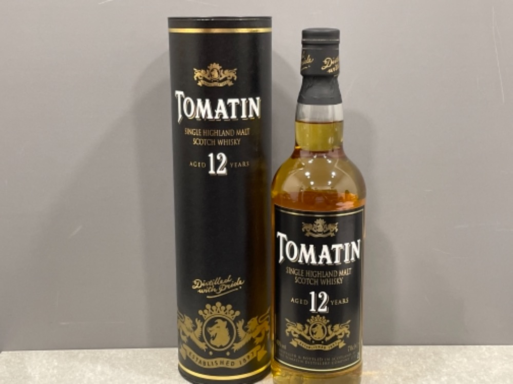 Tomatin single highland Malt scotch whisky. (Unopened & in original box) aged 12 years