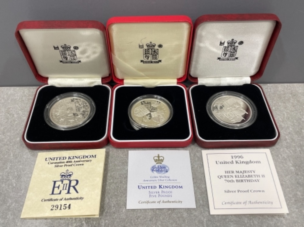 UK Royal mint £5 silver proof coins 1993 Coronation, 1993 Queens 70th Birthday and 1997 Golden
