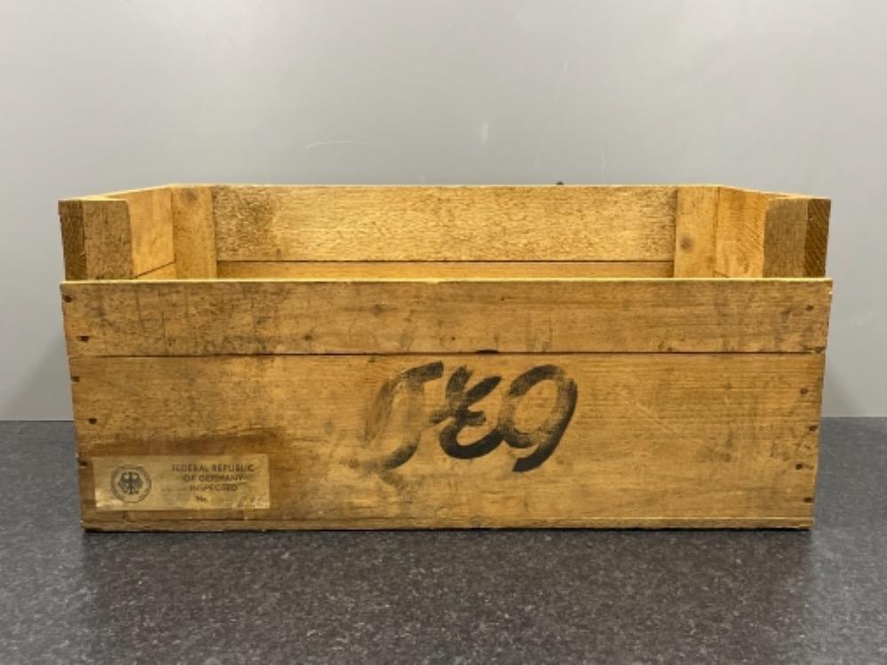 German wooden crate 63cm x 30cm x 30cms
