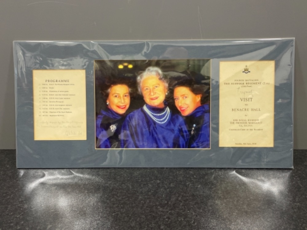 Autographs - Royalty. Matted display of Queen mother and 2 Daughters Elizabeth and Margaret together