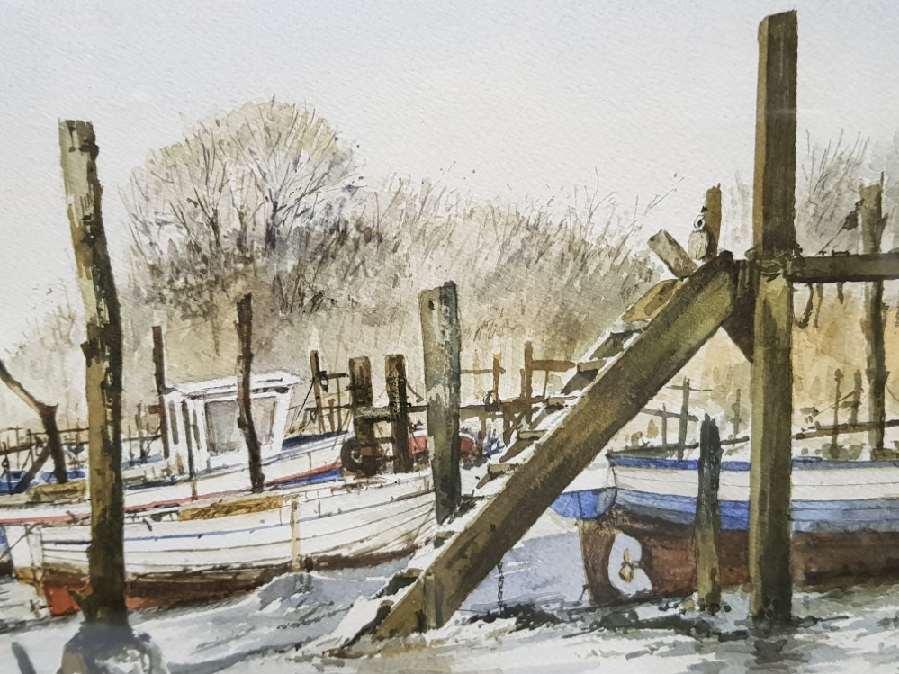 Frsmed watercolour by artist John.C.Currie, laid in for winter, signed and dated by the artist, - Image 3 of 3