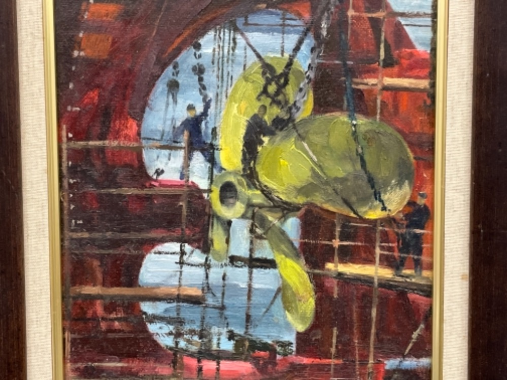 """Tom Dack oil on board. Titled """"Fitting the Propeller"""" - Image 2 of 3"""