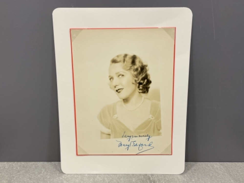 Mary Pickford (1892-1979) autograph signed vintage sepia. Canadian actress and Academy award winner