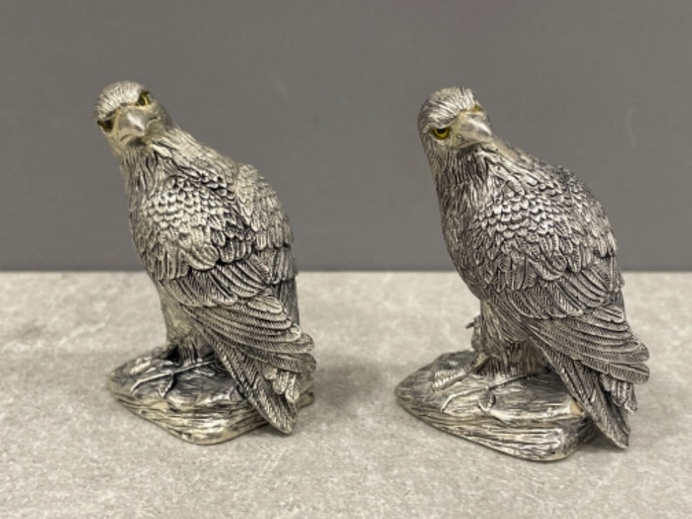 Pair of silver plated Eagle condiments