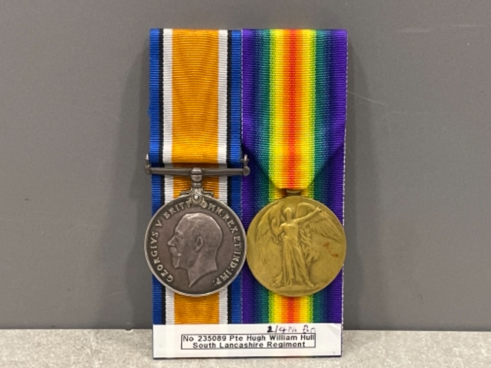 Medals WWI pair, silver and victory medals awarded to A. Sjt Hugh William Hull. South Lancashire Reg