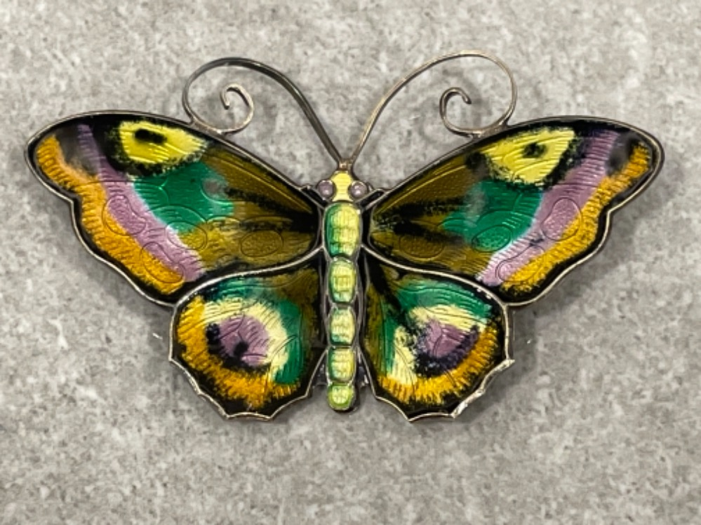 Large David Andersen sterling silver enamel Butterfly brooch. Very good vintage condition 6cms