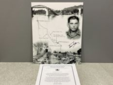 Signed photograph by Fred Seiker survivor of the building of the Bridge over the river Kwai