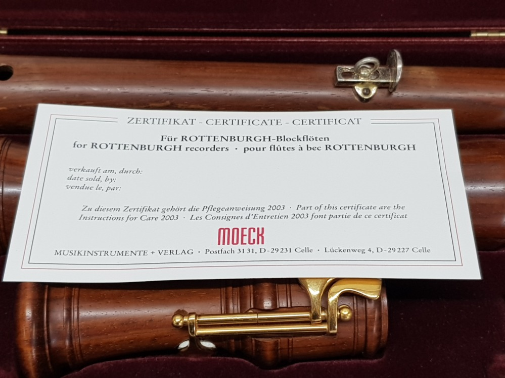 A Moeck Flauto Dolce wooden recorder in fitted case, with certificate. - Image 2 of 4