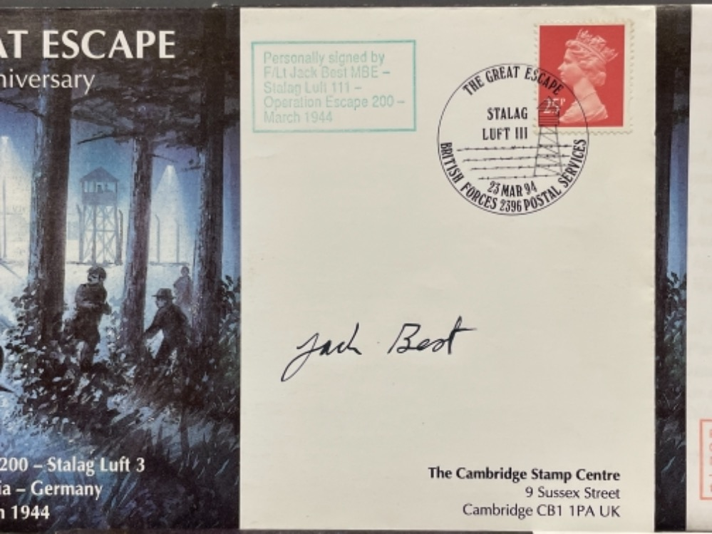 The Great Escape 50th anniversary 1st day covers x3 signed by F/lt Jack Best MBE, Commandant Raymond - Image 2 of 4