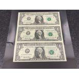 Banknotes - USA 1 dollar bills uncut strip of 3