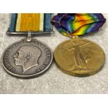 Medals WWI pair, silver and victory medals awarded to Pte J.J Wynne Rifle Brigade S-2015