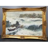 Gilt framed oil on board Rescue at Tynemouth, signed by the artist M.Turnbull, 49x74cm
