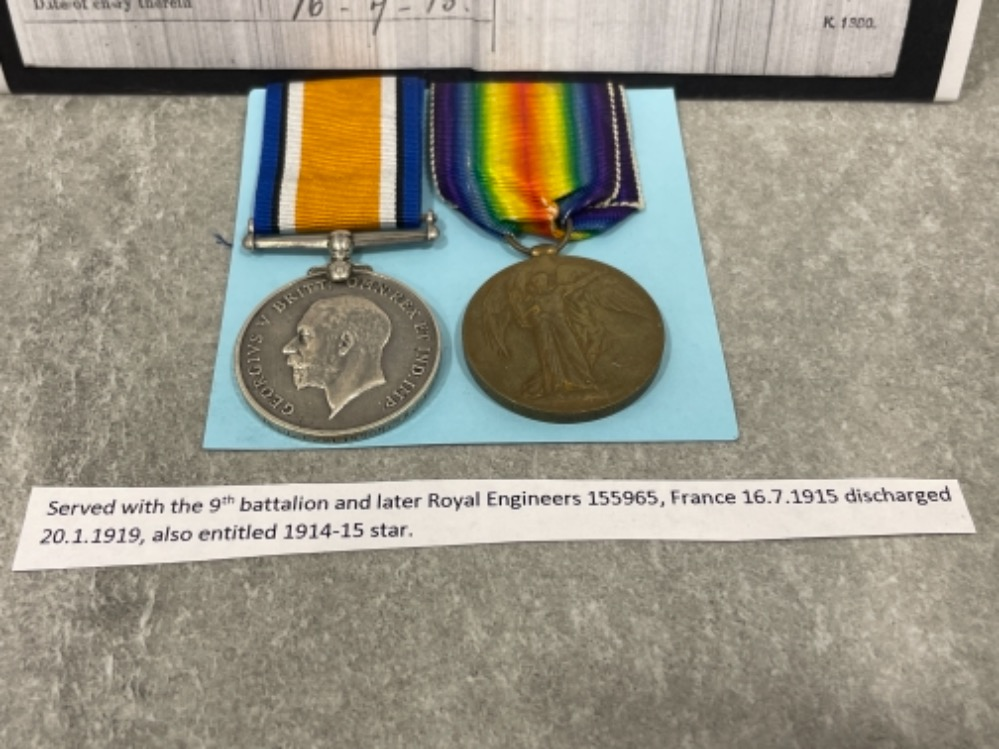 Medals WWI pair, Silver and victory medals awarded to Pte J. Tomlinson W. Riding Reg 12137 - Image 2 of 4
