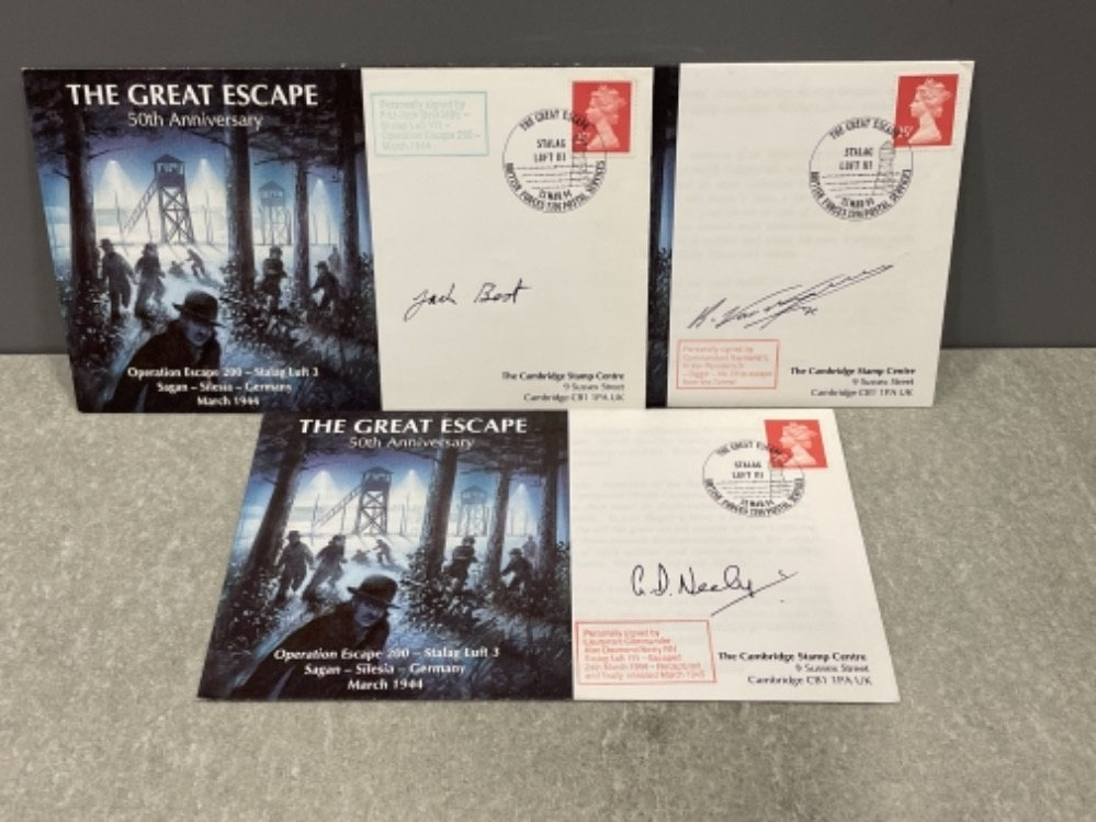 The Great Escape 50th anniversary 1st day covers x3 signed by F/lt Jack Best MBE, Commandant Raymond