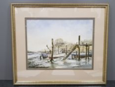 Frsmed watercolour by artist John.C.Currie, laid in for winter, signed and dated by the artist,