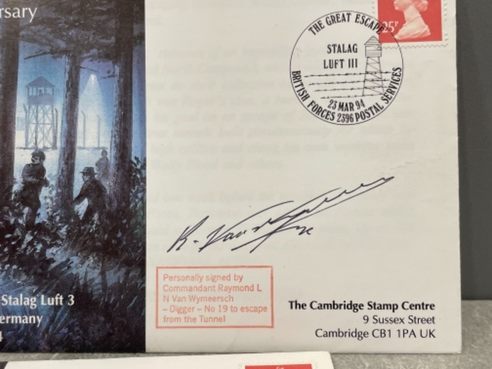 The Great Escape 50th anniversary 1st day covers x3 signed by F/lt Jack Best MBE, Commandant Raymond - Image 3 of 4
