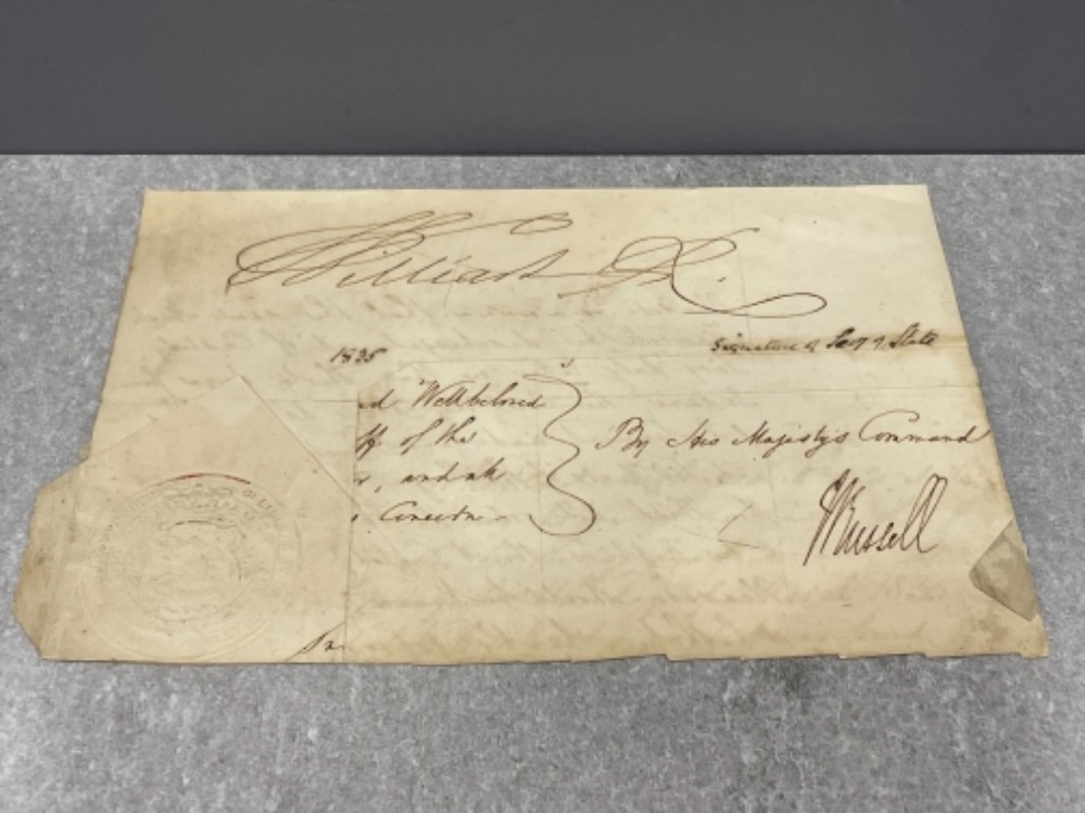 Royalty - part document dated 1835 signed by King William IV (1765-1837)