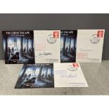 The Great Escape 50th anniversary 1st day covers signed by Lt Cdr John Casson, Sgn Ldr Thomas Robert